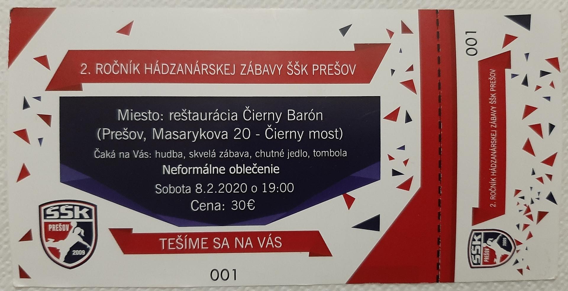Pozvánka na 2.ročník hádzanárskej zábavy ŠŠK Prešov